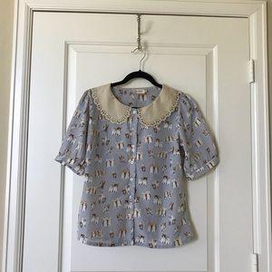 Modcloth cat polka dot blouse, UK10/US6